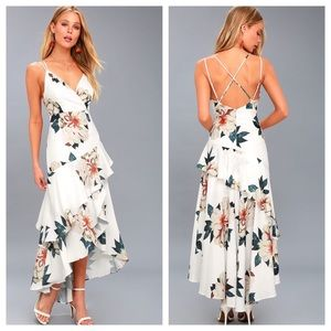 Lulus Blossom Tree White Floral Maxi Dress NEW